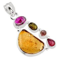 925 sterling silver 11.23cts natural multi color tourmaline pendant p93651