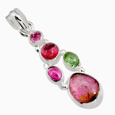 925 sterling silver 8.72cts natural multi color tourmaline fancy pendant p93654