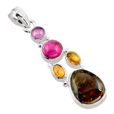 10.54cts natural multi color tourmaline 925 sterling silver pendant p93659