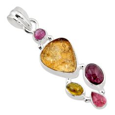 925 sterling silver 10.64cts natural multi color tourmaline fancy pendant p93671