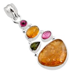 13.84cts natural multi color tourmaline 925 sterling silver pendant p93677