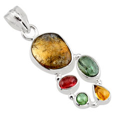 10.64cts natural multi color tourmaline 925 sterling silver pendant p93680