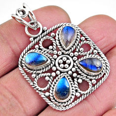 925 sterling silver 8.24cts natural blue labradorite pendant jewelry p93773