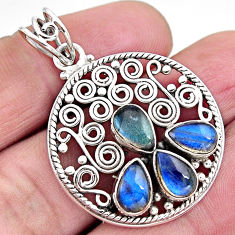 8.23cts natural blue labradorite 925 sterling silver pendant jewelry p93794