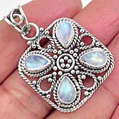 7.72cts natural rainbow moonstone 925 sterling silver pendant jewelry p93823