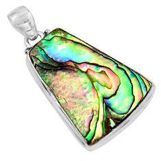 16.85cts natural green abalone paua seashell 925 sterling silver pendant p93841