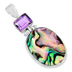 925 silver 15.02cts natural green abalone paua seashell amethyst pendant p93880
