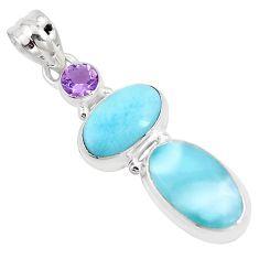 12.83cts natural blue larimar purple amethyst 925 sterling silver pendant p9402