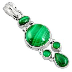 16.93cts natural green malachite (pilot's stone) 925 silver pendant p94095