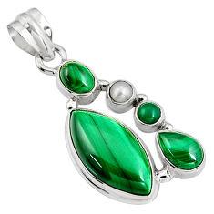 16.17cts natural green malachite (pilot's stone) 925 silver pendant p94097