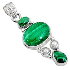 925 silver 17.81cts natural green malachite (pilot's stone) pearl pendant p94099