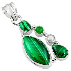 15.76cts natural green malachite (pilot's stone) 925 silver pendant p94100