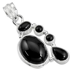 Clearance Sale- 925 sterling silver 14.84cts natural black onyx pendant jewelry p94110