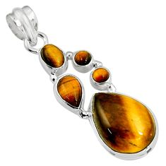 925 sterling silver 17.69cts natural brown tiger's eye pendant jewelry p94114