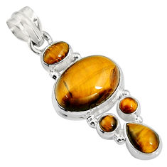 15.64cts natural brown tiger's eye 925 sterling silver pendant jewelry p94115