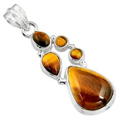 17.20cts natural brown tiger's eye 925 sterling silver pendant jewelry p94116