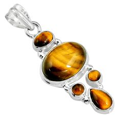 925 sterling silver 15.33cts natural brown tiger's eye pendant jewelry p94118