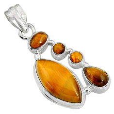 16.46cts natural brown tiger's eye 925 sterling silver pendant jewelry p94120