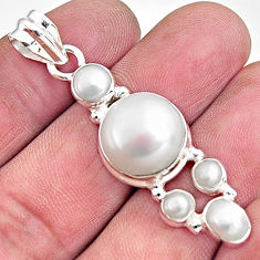 14.88cts natural white pearl 925 sterling silver pendant jewelry p94127