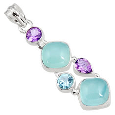 14.88cts natural aqua chalcedony amethyst 925 sterling silver pendant p94141