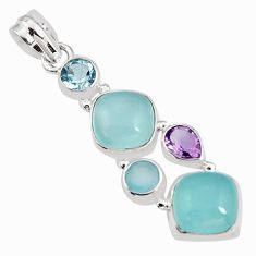 14.90cts natural aqua chalcedony amethyst 925 sterling silver pendant p94149