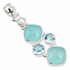 13.71cts natural aqua chalcedony pearl 925 sterling silver pendant p94151