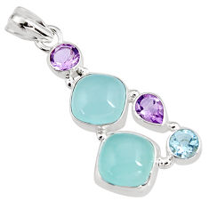 15.33cts natural aqua chalcedony amethyst 925 sterling silver pendant p94152
