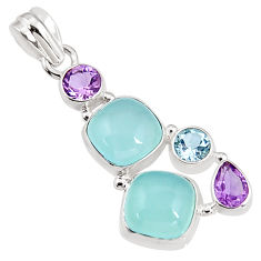 15.33cts natural aqua chalcedony amethyst 925 sterling silver pendant p94158