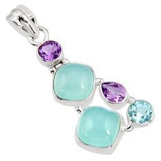 15.68cts natural aqua chalcedony amethyst 925 sterling silver pendant p94160
