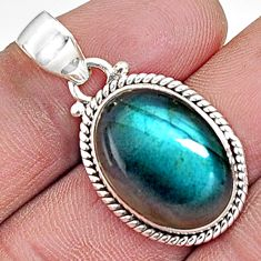 925 sterling silver 13.70cts natural blue labradorite pendant jewelry p94290