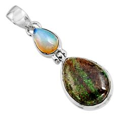 925 silver 13.70cts natural black honduran matrix opal pendant jewelry p94406