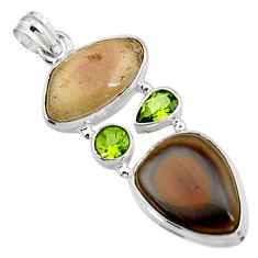 24.00cts natural brown imperial jasper green peridot 925 silver pendant p94411