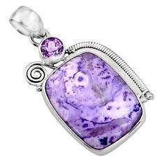 20.96cts natural purple tiffany stone amethyst 925 silver pendant p94415