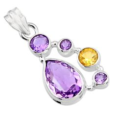 10.02cts natural purple amethyst citrine 925 sterling silver pendant p94417