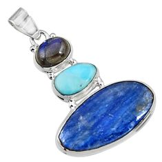 925 sterling silver 22.59cts natural blue kyanite labradorite pendant p94418