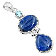 25.60cts natural blue kyanite topaz 925 sterling silver pendant jewelry p94419