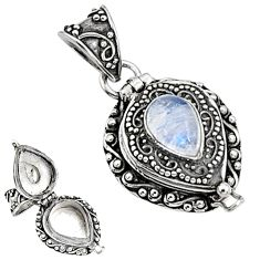2.37cts natural rainbow moonstone 925 sterling silver poison box pendant p94420