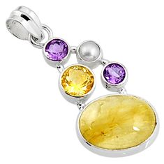 925 sterling silver 16.43cts natural golden rutile amethyst pearl pendant p94428