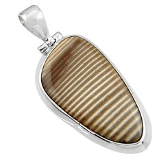 925 sterling silver 17.22cts natural grey striped flint ohio pendant p94447