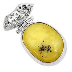 925 sterling silver 15.65cts natural yellow opal pendant jewelry p94450