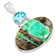 24.00cts natural green variscite topaz 925 sterling silver pendant p94451