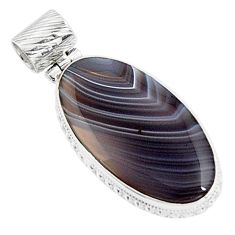 19.72cts natural brown botswana agate 925 sterling silver pendant jewelry p94455