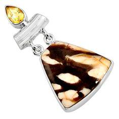 925 silver 16.20cts natural brown peanut petrified wood fossil pendant p94459