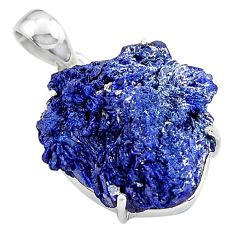 925 sterling silver 22.87cts natural blue azurite druzy pendant jewelry p94990