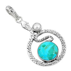7.51cts green arizona mohave turquoise pearl 925 silver snake pendant p9522