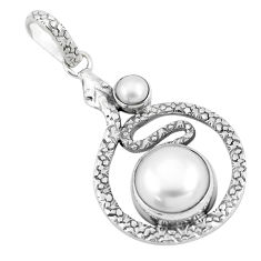 8.11cts natural white pearl 925 sterling silver snake pendant jewelry p9527