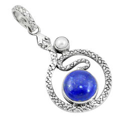 925 sterling silver 7.38cts natural blue lapis lazuli pearl snake pendant p9529