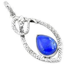 11.83cts natural blue lapis lazuli 925 sterling silver snake pendant p9541
