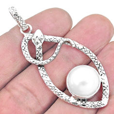 925 sterling silver 11.00cts natural white pearl snake pendant jewelry p9550