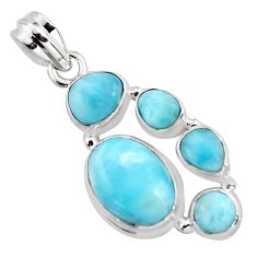 12.65cts natural blue larimar 925 sterling silver pendant jewelry p96143